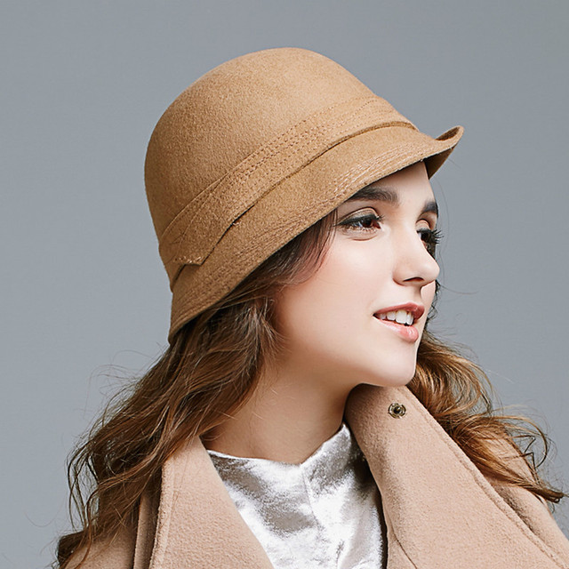 a1be68d64df 2018 Autumn and Winter New Women Hat British Wool Hat Grace Concise Hats  Camel D567