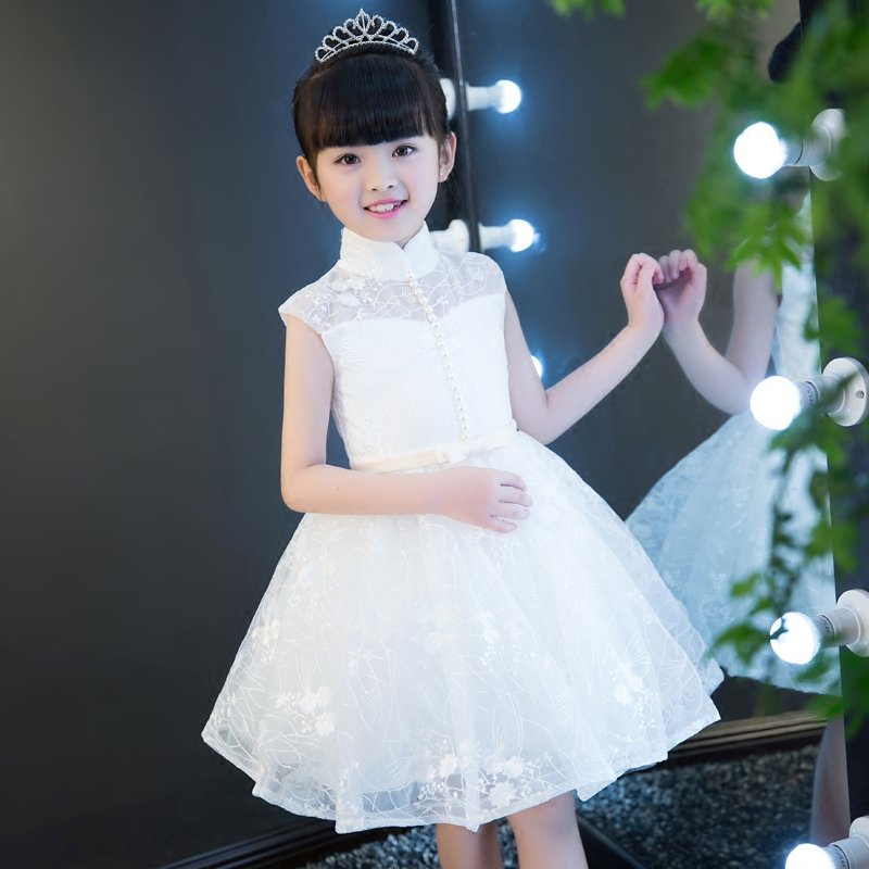 Girls Kids Princess Ball Gown Lace Dress Sleeveless Lace Mesh Flowers Children Evening Dress White Color Birthday Girl Clothing white sleeveless mesh and lace overlay details playsuit