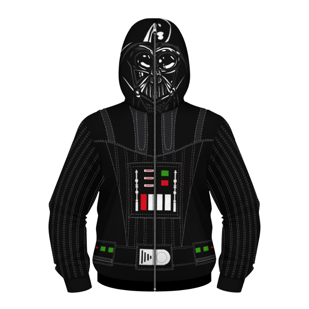 Boys Star Wars Dark Warrior Cosplay Hoodies Children Costumes Black and White Warrior Fashion Hooded Masked Zipper Sweatshirt