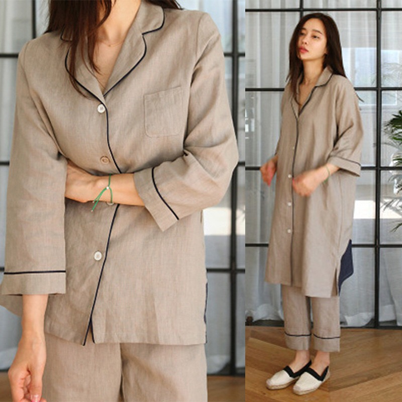 Korean Cotton and linen new   pajamas     set   women's cotton simple fashion cotton long-sleeved nine-point long Ladies' home service