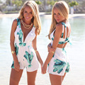 2016 Fashion New White Leaf Print Playsuit V-neck Summer Beach Jumpsuit Low Back shorts Free Shipping