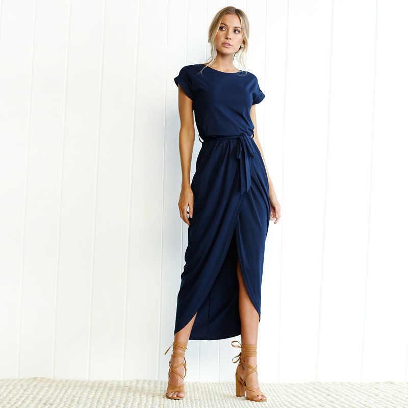 Макси Футболка Платье женское летнее пляжное повседневное сексуальное Бохо винтажное облегающее Элегантное Черное длинное раздельное платье плюс размер vestidos