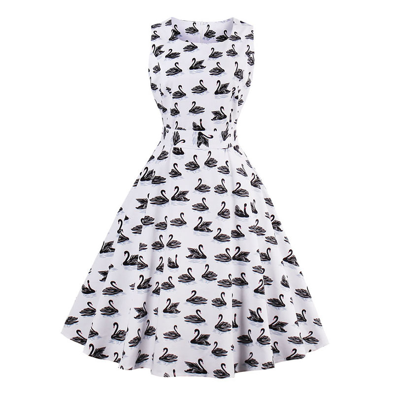 Kostlish 9 Style Print Summer Dress Women 2017 Sleeveless Swing 1950s Hepburn Vintage Tunic Dress Elegant Party Dresses Sundress (17)