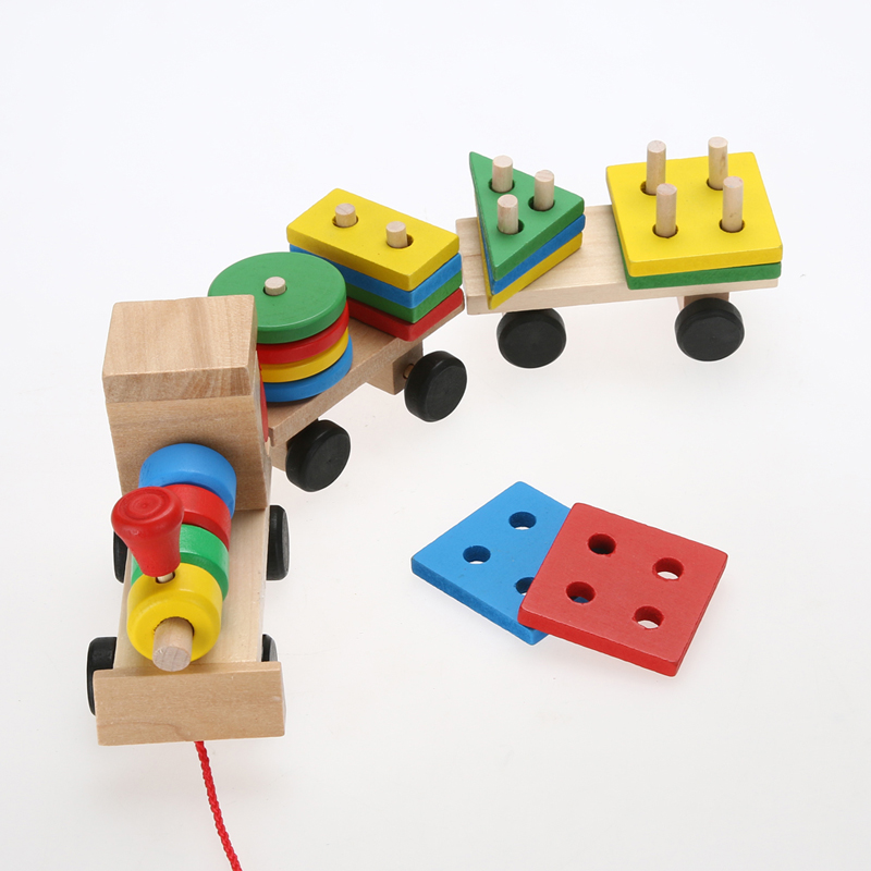 Wooded Stacking Train Vehicle Building Blocks Toy Baby Kids Educational Holes Pillars Shape Matching Game Blocks Stack Toy 48pcs good quality soft eva building blocks toy for baby