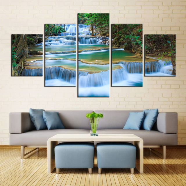 Peaceful Waterfall Canvas Prints 5 Pieces Painting Office Wall Decor Poster Beautiful Landscape Paintings Waterfalls