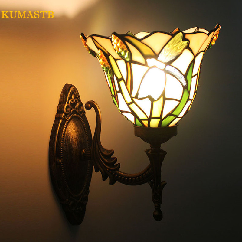 Art Stained Glass Wall Sconce Countryside Warm LED Wall Lamp Entrance Hall Light Coffee Shop Club Staircase Corner Luminaria loft american edison vintage industry crystal glass box wall lamp cafe bar coffee shop hall store club