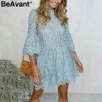 BeAvant Hollow out embroidery lace dress women Casual ruffles sleeve white dress summer Beach cotton short dress vestidos 2018