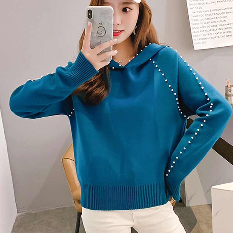 2019 Autumn/winter Women Sweaters Computer Knitted Casual Hooded Pullovers Beading Solid Women Sweaters and Pullovers 5194 50 30