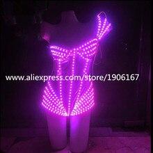 Новый Дизайн красочный свет Для женщин сексуальное вечернее платье костюм может изменить 7 цветов Световой растет пикантные Костюмы для вечеринки
