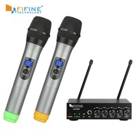 Fifine UHF Dual Channel Wireless Handheld Microphone, Easy to use Karaoke Wireless Microphone System K036