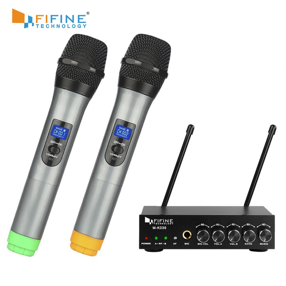 Fifine uhf duplo canal microfone portátil sem fio, fácil de usar karaoke sistema de microfone sem fio k036