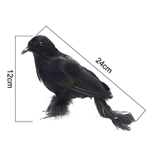 2 Pcs Plastic Halloween Decoration Realistic Looking Birds Black Feathered Crows Halloween Prop Decor Crow Decorations 24cm цена