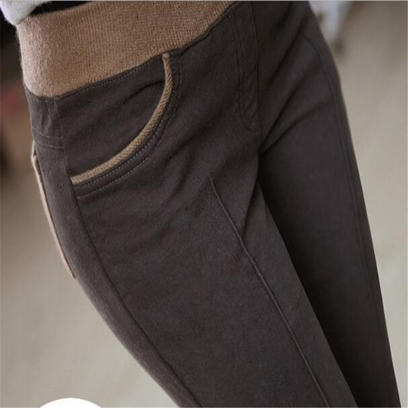 2 Pc Vrouwen Winter Warm Stretch Hoge Elastische Taille Casual Katoenen Broek Plus Size 4xl Dikke Fleece Patchwork Potlood Broek Broek