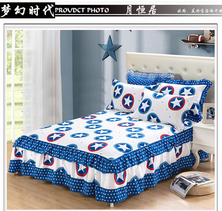 Attractive 100% Cotton Bed Sheets Printed Double Layers Lace Bed Sheet Skirt Mattress  Protective Case Cover Bedskirt Cover Free Shippping In Bed Skirt From Home  ...