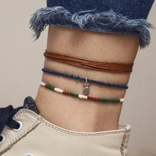 цена на Bohemia Retro Multilayer Colorful Beaded Anklets For Women Fashion Vintage Pineapple Pendant On Leg Anklet Bracelet Foot Jewelry