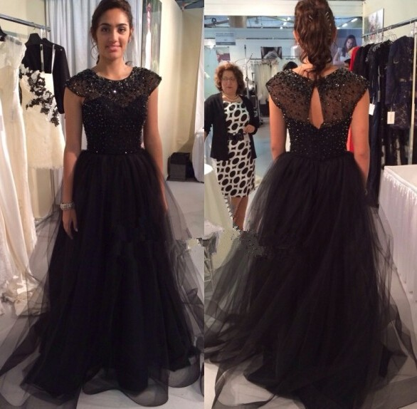 Haute Couture Evening Prom Dresses 2015 Cap Sleeve Beaded Sequins Sheer Neck Black Tulle Gown