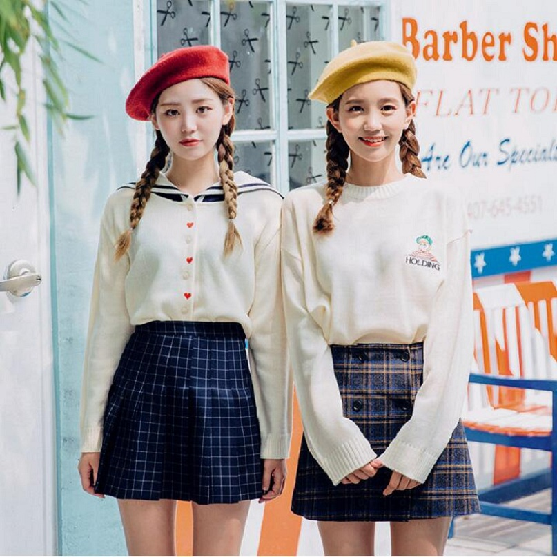 2018 WomenS Harajuku Fashion Spring Korean Navy Lapel Sailor Sweaters Love Heart Embroid ...
