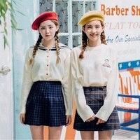 Spring New Korean Navy Lapel Sailor Sweater Love Peach Heart Embroidery Cardigan Sweater 350