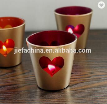 Heart Shape Small Clear Tealight Glass Candle Holder For Wedding Deco