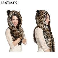 Uwback 2017 inverno cappelli animali furry panda/husky/lupo/leopard pelliccia cappelli con sciarpa faux fur berretti donne/uomini cbb385