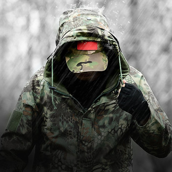 Shark Skin Soft Shell Military Tactical Jacket Men Waterproof Windbreaker Warm Coat Fleece Camouflage Hooded Thick Army Clothes