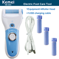 Blue Hot Rechargeable Foot Care Tool +4 Roller Electric Pedicure Peeling Dead Skin Removal Feet Care Machine Personal Care Kemei