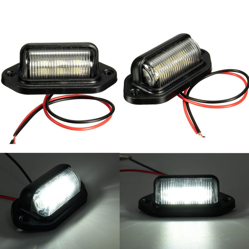 Truck Trailer Light Lamp Truck Icense Plate Bulbs 6LED For Boat Motorcycle RV Trailer 12V Number Plate Light Car Accessories