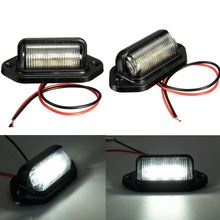 цена на license Plate lights Truck trailer lamp truck Bulbs 6LED for Boat Motorcycle RV Trailer 12V Number Plate Light Car Accessories