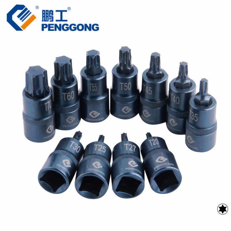"PENGGONG 1/2"" Socket Adapter Torx Universal Head T20 T25 T27 T30 T35 T40 T45 T50 T55 T60 T70 Drive Socket Car Repair Tool 1pc"
