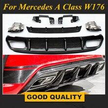Для Mercedes W176 класс AMG посылка 2013-2018 A45 Стиль диффузор и 304 Нержавеющаясталь 4 розетки выхлопные трубы