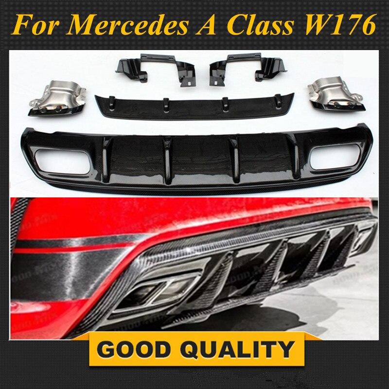 Pour Mercedes W176 classe A AMG paquet 2013-2018 A45 Style diffuseur & 304 acier inoxydable 4 sorties embouts d'échappement