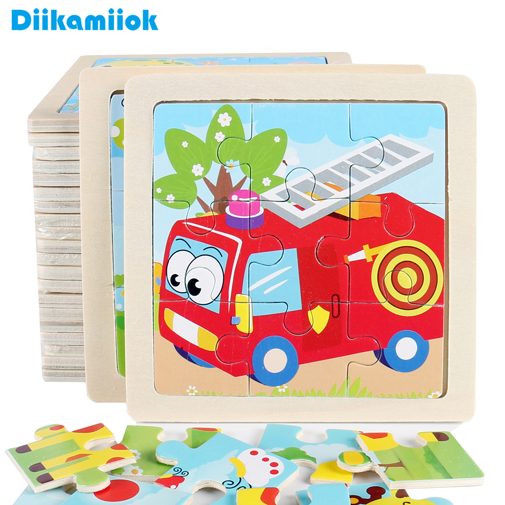 9 Slice Simple Wooden Jigsaw Puzzle Cartoon Animal Vehicle Wood Toy For Kids Baby Early Educational Learning Toys Gift DK-M500