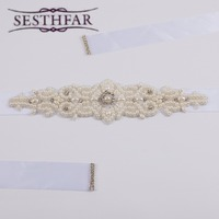 S26 Stock Exquisite Handmade Belt Pearls Rhinestone Beading Czech Stones Bridal Sash Formal Wedding Belt