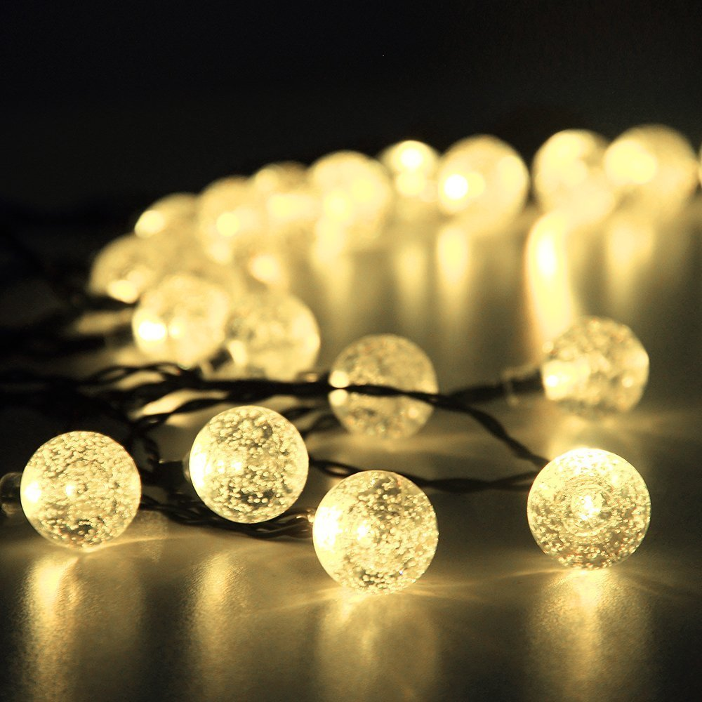 Solar Bulb String Light Frosted Sting Light Hanging Bulb Lighting Solar and USB Charging Outdoor/Indoor Decoration