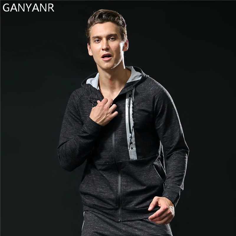 GANYANR Brand Running Jacket Men Sport quick Dry Hoodie Windbreaker Fitness Windproof Sportswear Breathable Winter Outdoor Gym outdoor men s spring summer quick dry breathable ultra thin tactical clothes male windbreaker skin coat rash guards jacket