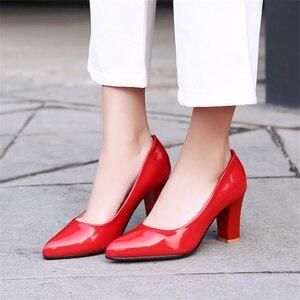 Image 4 - Модные Классические женские туфли лодочки; Элегантные туфли на высоком каблуке; Женские офисные свадебные туфли из искусственной кожи телесного, красного, черного цвета