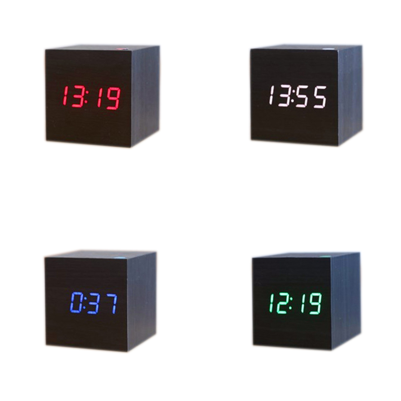 Mini cute Led wooden alarm clock Wake up light digital external clock temperature date USB power/Battery electronic desktop