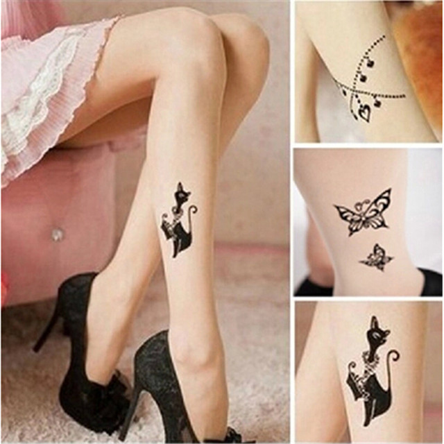 Hot Fashion Sexy Tattoo Pattern Printed nude Color Pantyhose