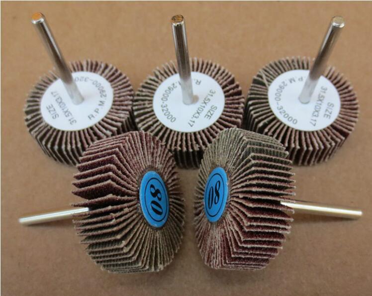 Nemokamas 10 vnt / komplekto 80 # šlifavimo 30-50 * 6MM diskų ratų su rankena angelo šlifuokliui plieno metalo šlifavimo šlifavimas nemokamas pristatymas