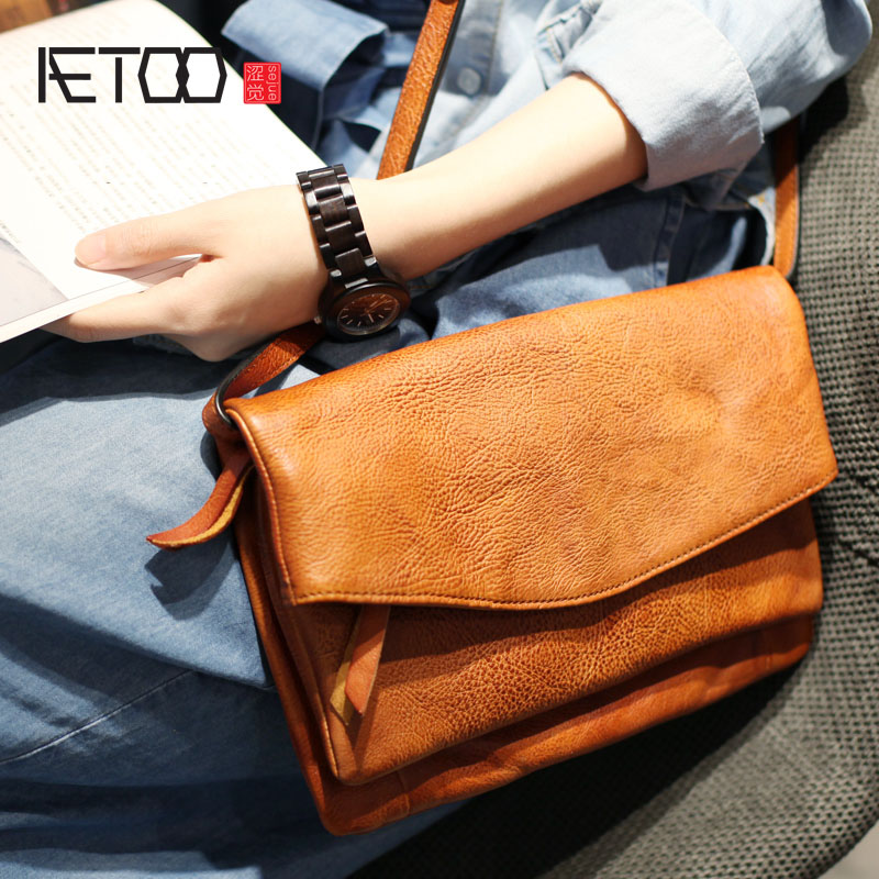 AETOO Original handmade cowhide handbag art retro leather in the package personality casual oblique cross cover flip envelopes s