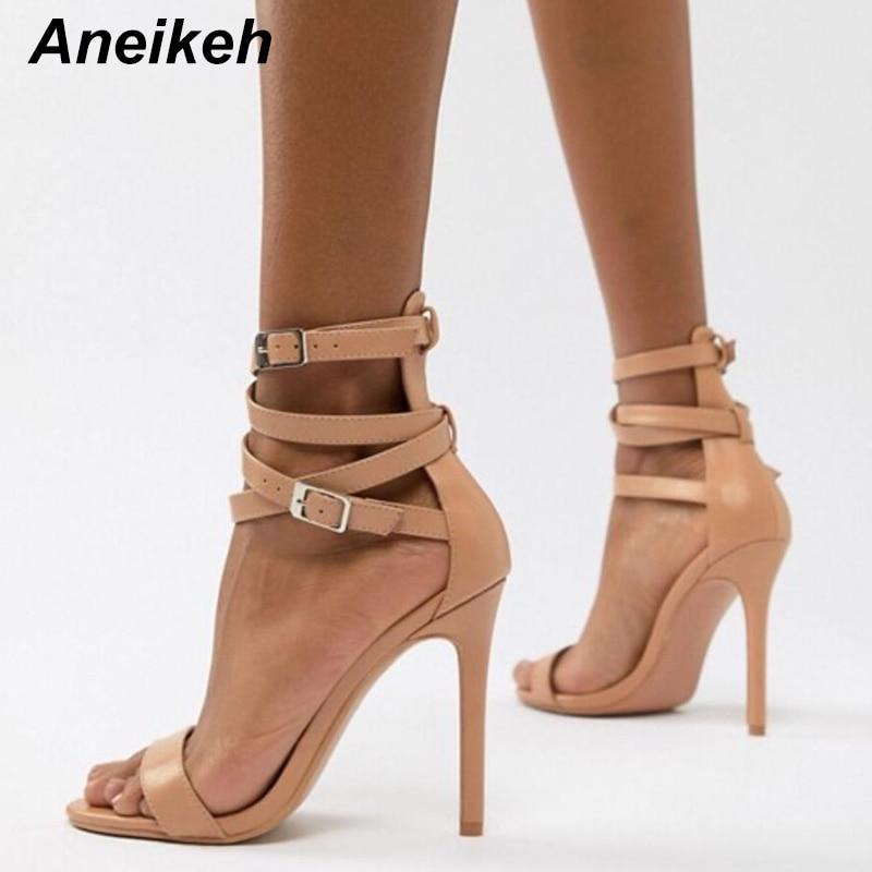 Aneikeh New Fashionable Sexy Design Women Gladiator Style Buckle Thin High Heels Black PU Open Toe Dress Sandals