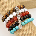 European Fashion Natural Agate Tiger Eye Black Agate Bracelet with Lion Head Decoration Lucky Bracelet For Great Gift