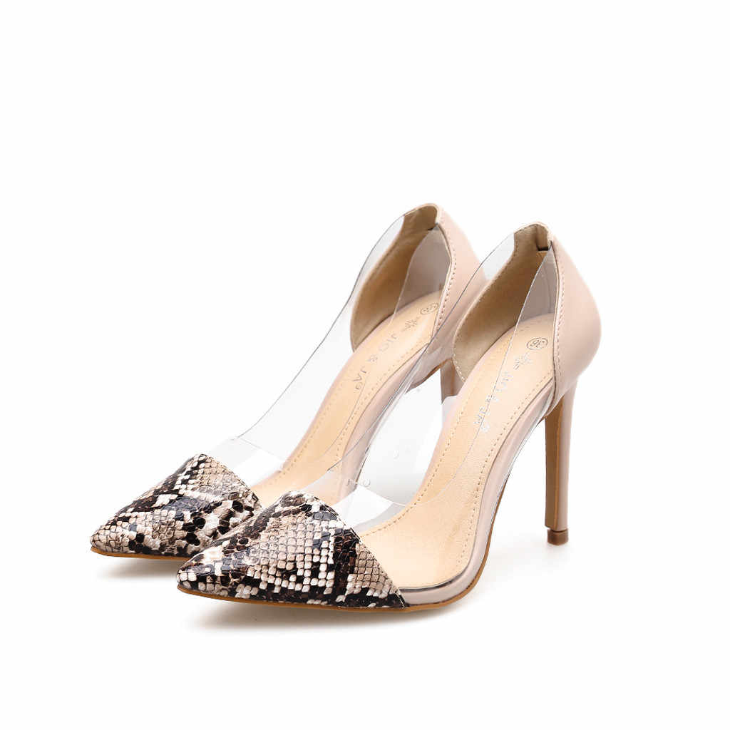 862974065b YOUYEDIAN Women Pumps 2019 Fashion Snake Print Transparent High Heels Shoes  Pointed Toe Thin Heel Pumps Ladies Shoes