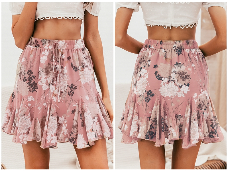 BeAvant Bohemian print summer skirts womens Ruffle pleated floral short boho skirt female High waist chiffon beach mini skirt 4