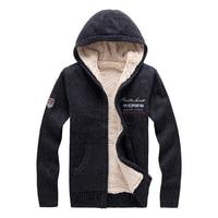 New Winter Men's Sweater Designer Fashion Brocade Plus Size Fleece Thick Hooded Warm Sweater Coat Men Outwear M~2XL BF8807
