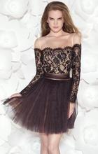 Dressgirl Schwarz Cocktailkleider 2017 A-line Long Sleeves Tulle Spitze Open Back Bogen Sexy Short Mini Homecoming Kleider