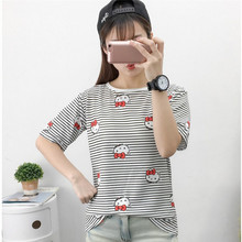 New summer cute Hello Kitty Character Print T-shirts for women Casual O-Neck Short sleeves female t shirt Striped Tops Tees