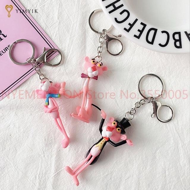 Pantera Cor de rosa Vinil Boneca dos desenhos animados keychain do anel chave de cadeia chaveiro criativo presente de aniversário Para As Mulheres 100 pcs