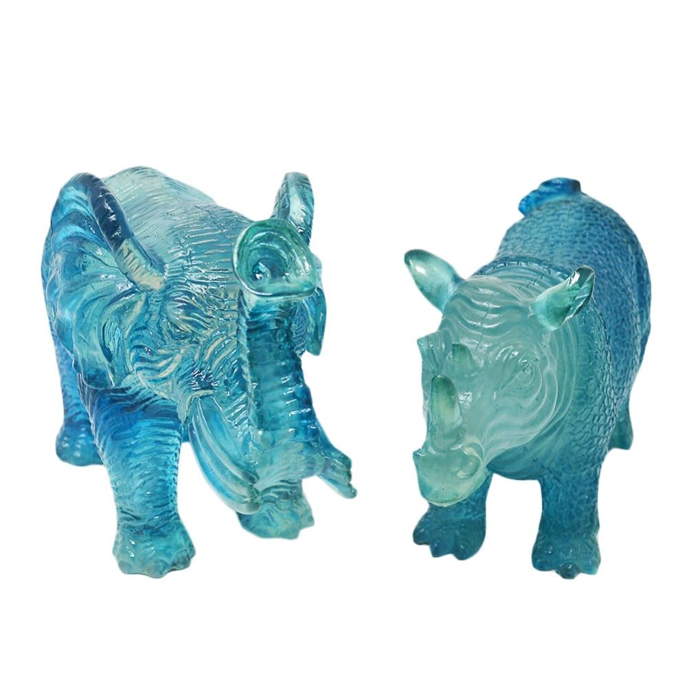 Feng Shui Blue Rhinoceros and Elephant Resin Statue Fashion Home Decoration Gift U1022