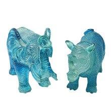 Фэн Шуй синий носорог и слон статуя из смолы модные украшения дома подарок U1022